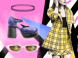 Alicia Silverstone wearing her iconic yellow tartan blazer and skirt plus kate moss in a tight dress and a floral dress and choker and cat eye sunglasses