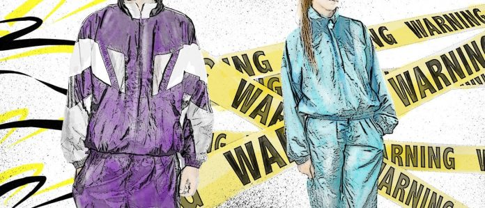 90s Tracksuits with Warning Labels