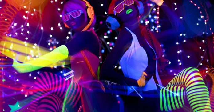 Neon cloured image with neon pants