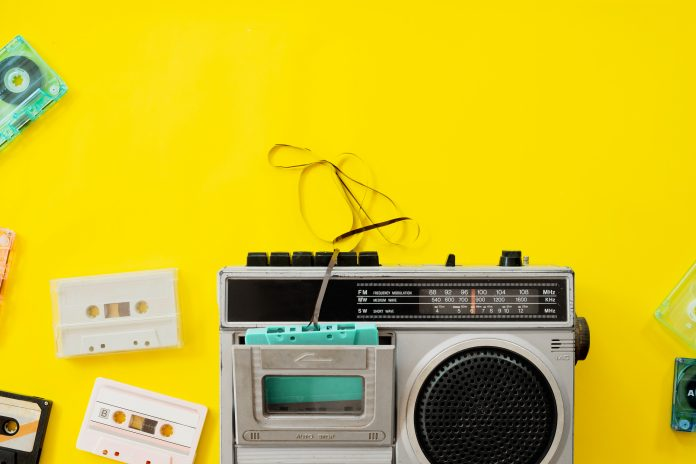 vintage radio cassette player from the 90s