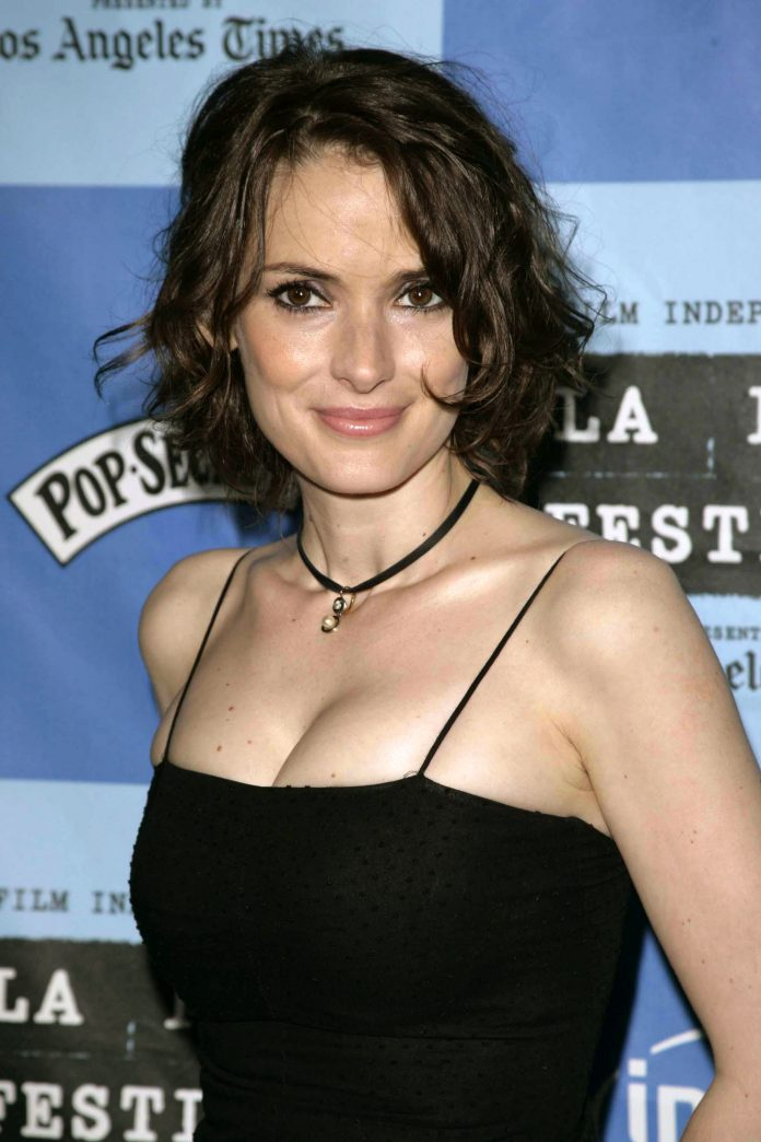 Winona Ryder wearing a spaghetti dress