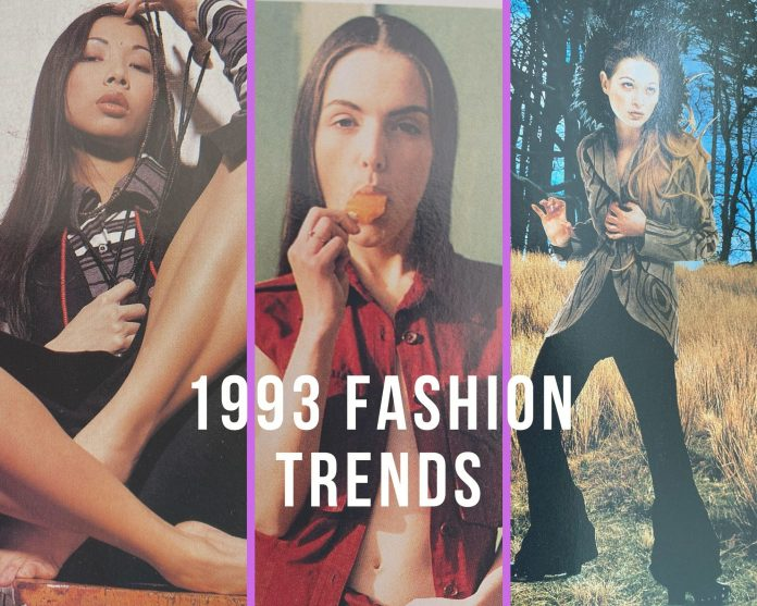 3 different styles of outfits of 1993 fashion trends