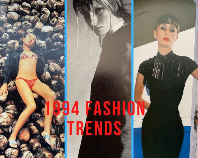 1994 fashion showing three women with different 1994 styles