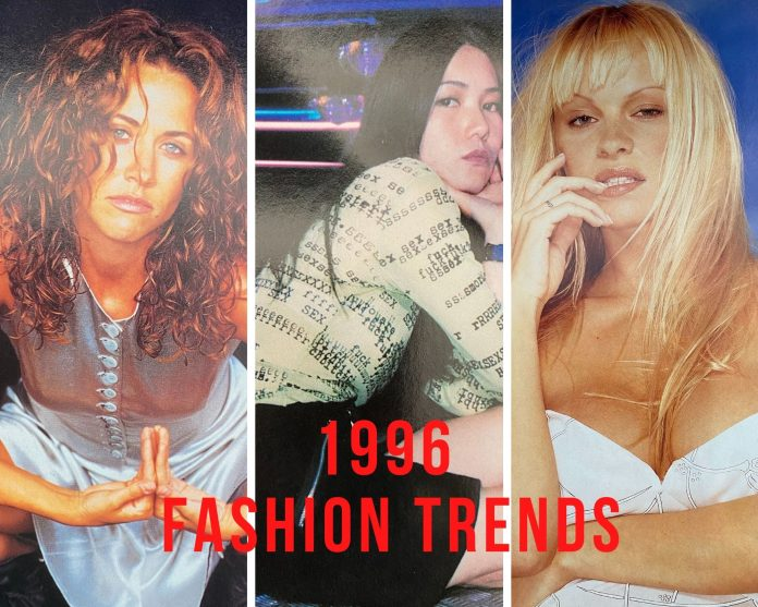 1996 fashion trends of 3 different styles of women's outfits