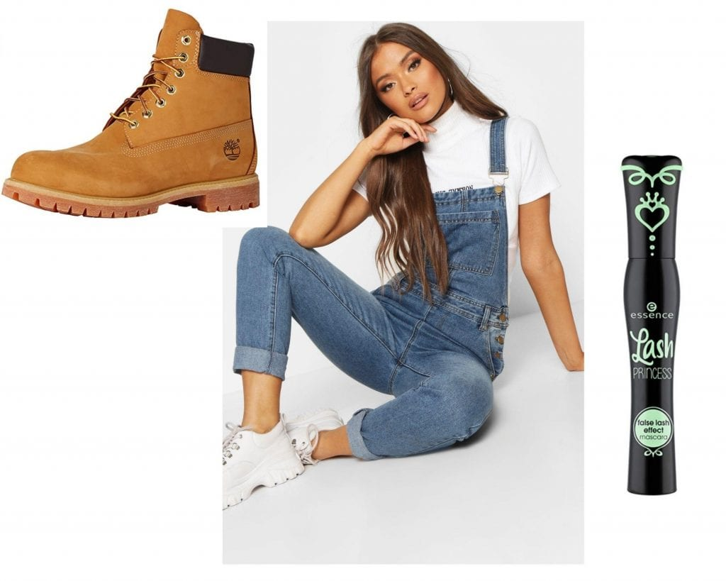 Women wearing overalls and sneakers