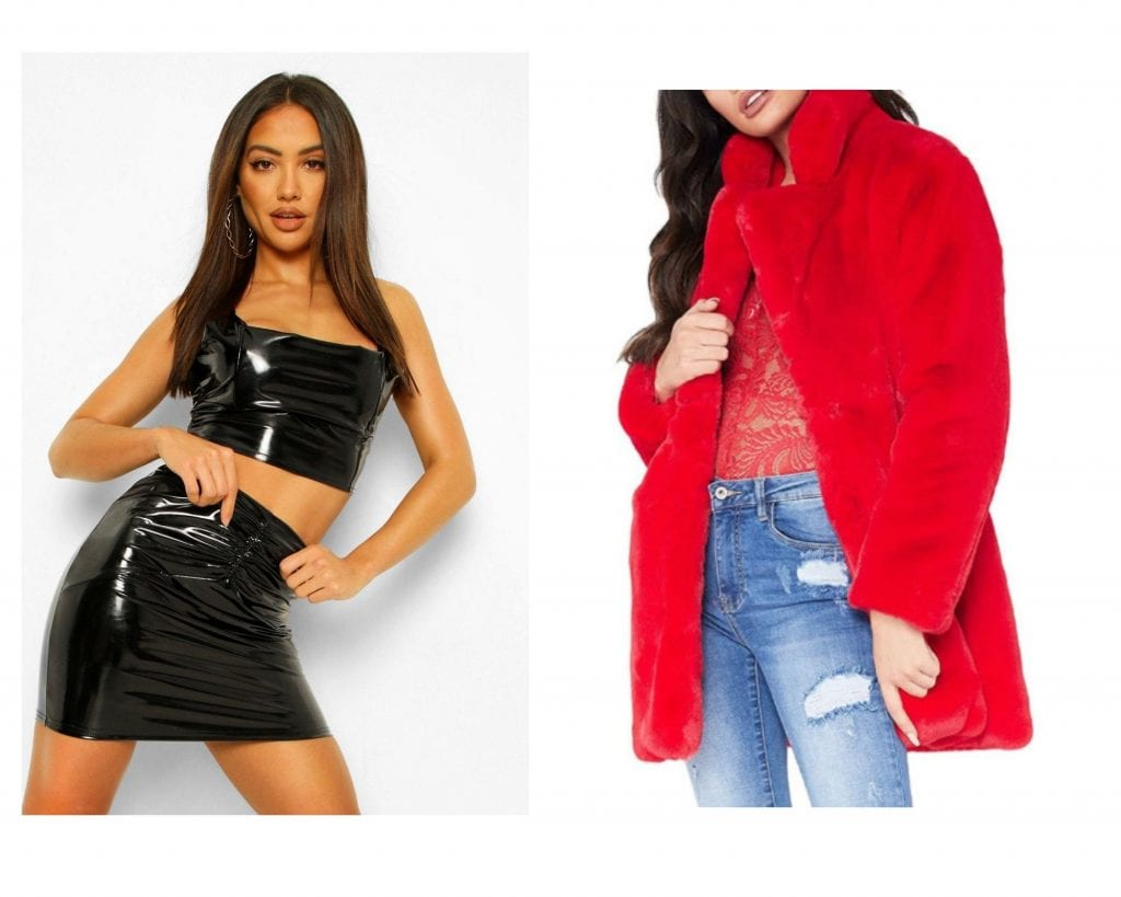 mini skirt and red faux fur coats