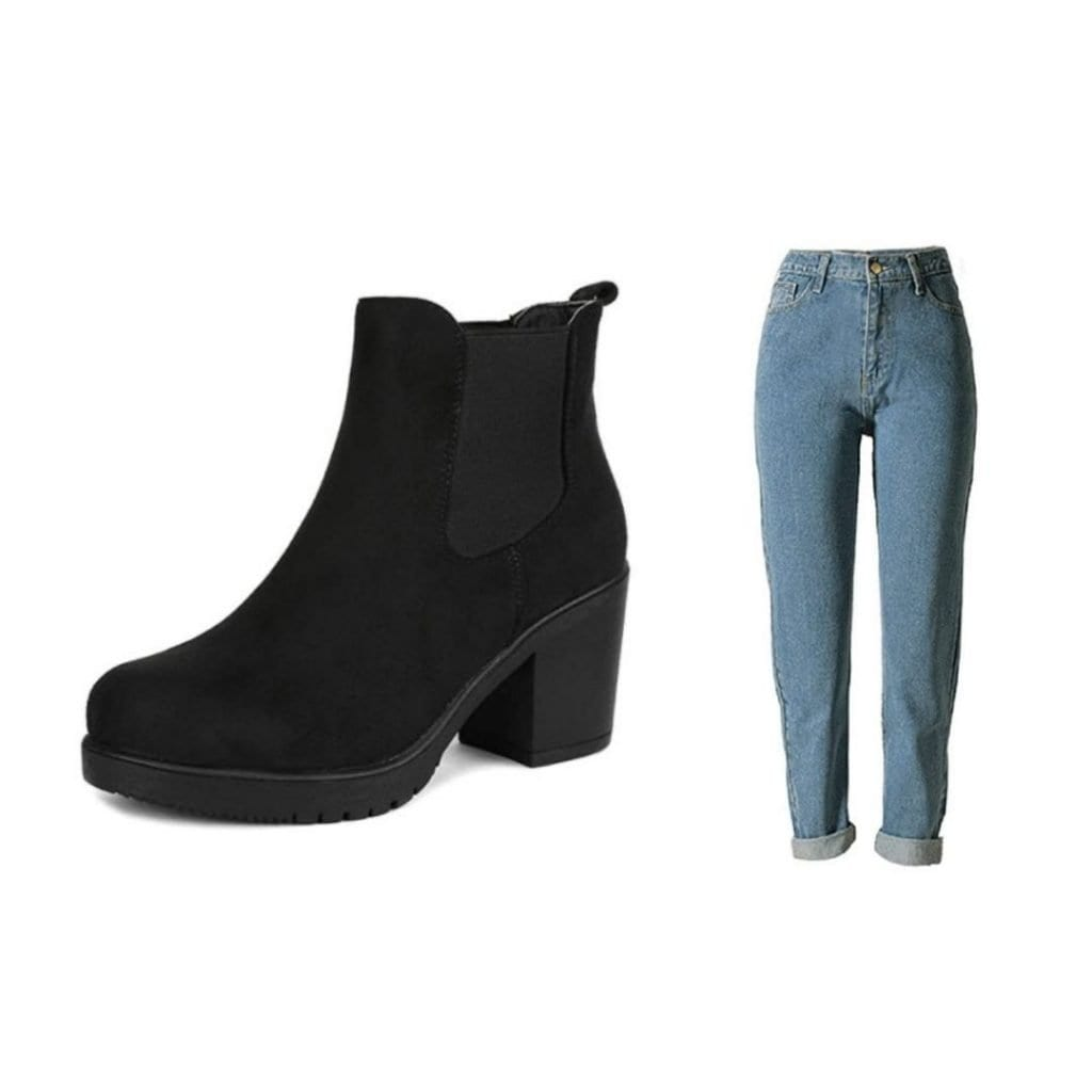 Straight boyfriend jeans and Chelsea boots