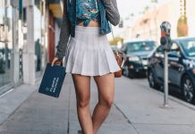 White skater skirt on street
