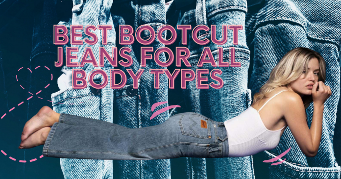 best bootcut jeans for all body types with a lady lying down prone with bootcut jeans and white top