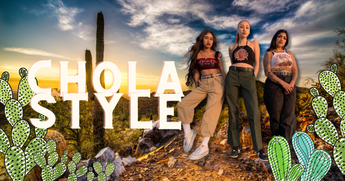 Chola style with chola women in the mexican desert