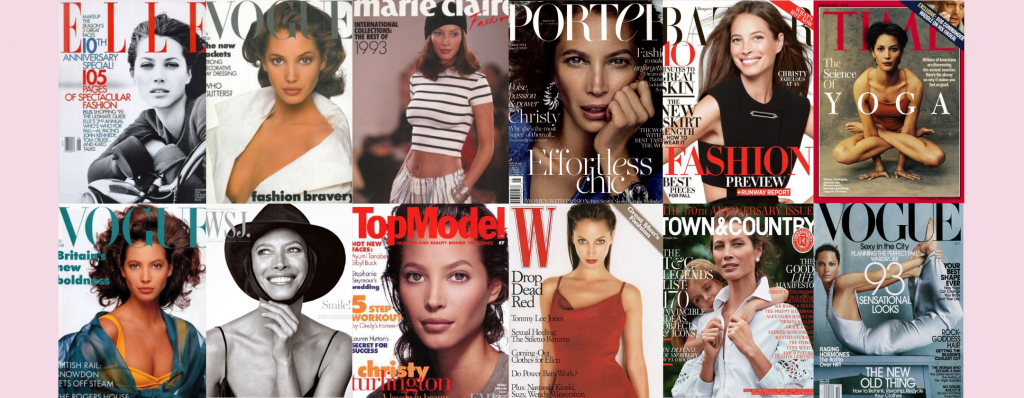 Christy Turlington on the front fashion and culture magazines such as WSJ, Town&Country and Porter