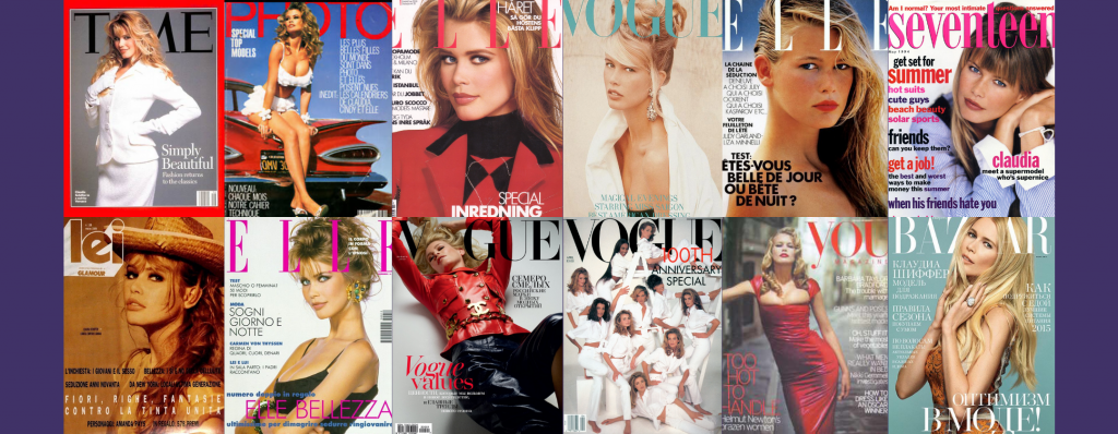 Claudia Schiffwe on the front fashion and culture magazines such as vogue, elle and bazaar