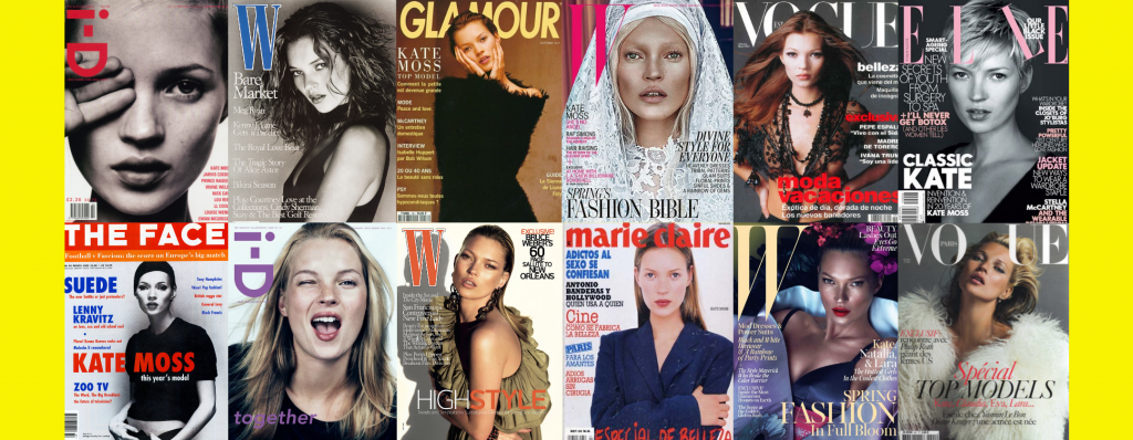 kate moss on the front fashion and culture magazines such as glamour, vogue and marie claire