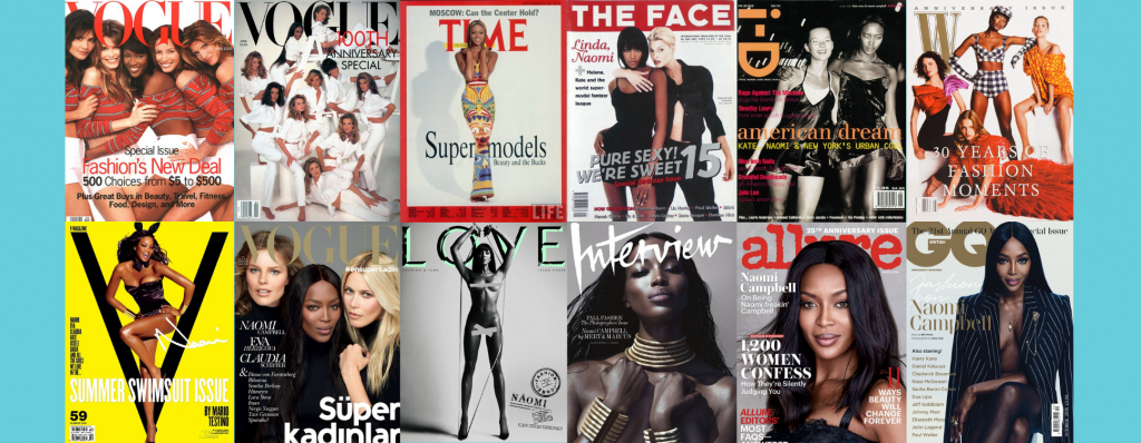 naomi campbell the front fashion and culture magazines such as allure, love and GQ