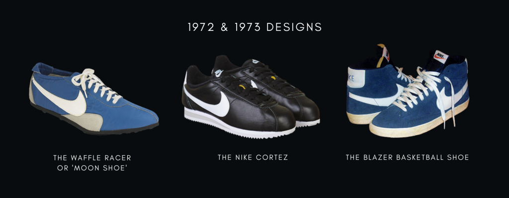 1972 and 1973 Nike Sneaker Designs: The Waffle Racer or Moon Shoes, The Nike Cortez and The Blazer Basketball Shoe