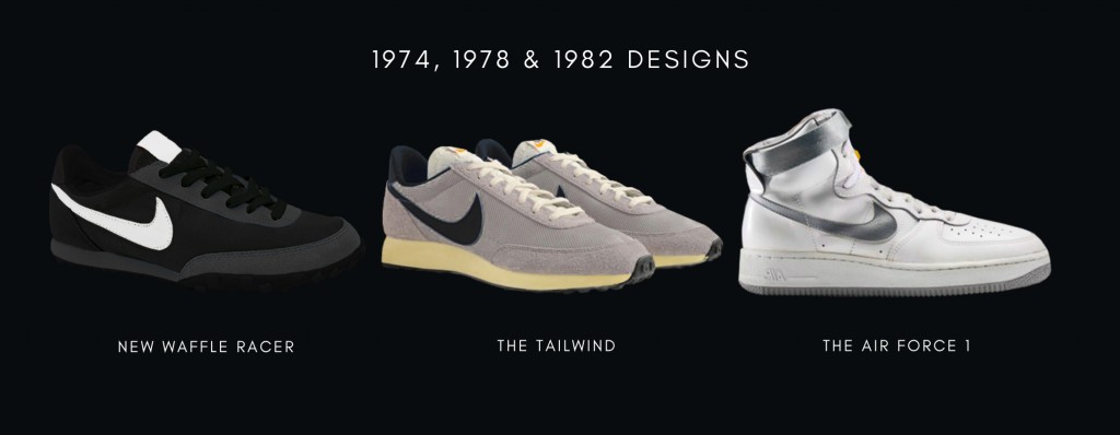 1974, 1978 and 1982 Nike Sneaker Style Designs: New Waffle Racer, The Tailwind and The Air Force 1
