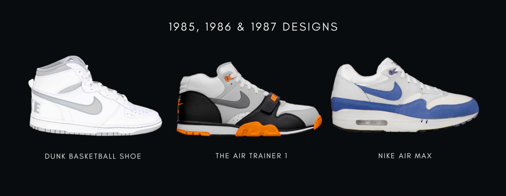 1985, 1986 and 1987 Nike sneaker designs: Dunk Basketball Shoe, The Air Trainer 1 and Nike Air Max