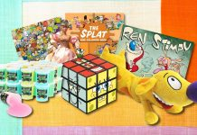 Nickelodeon toys from the 90s including a ren and stimpy rubik cube and catdog plush